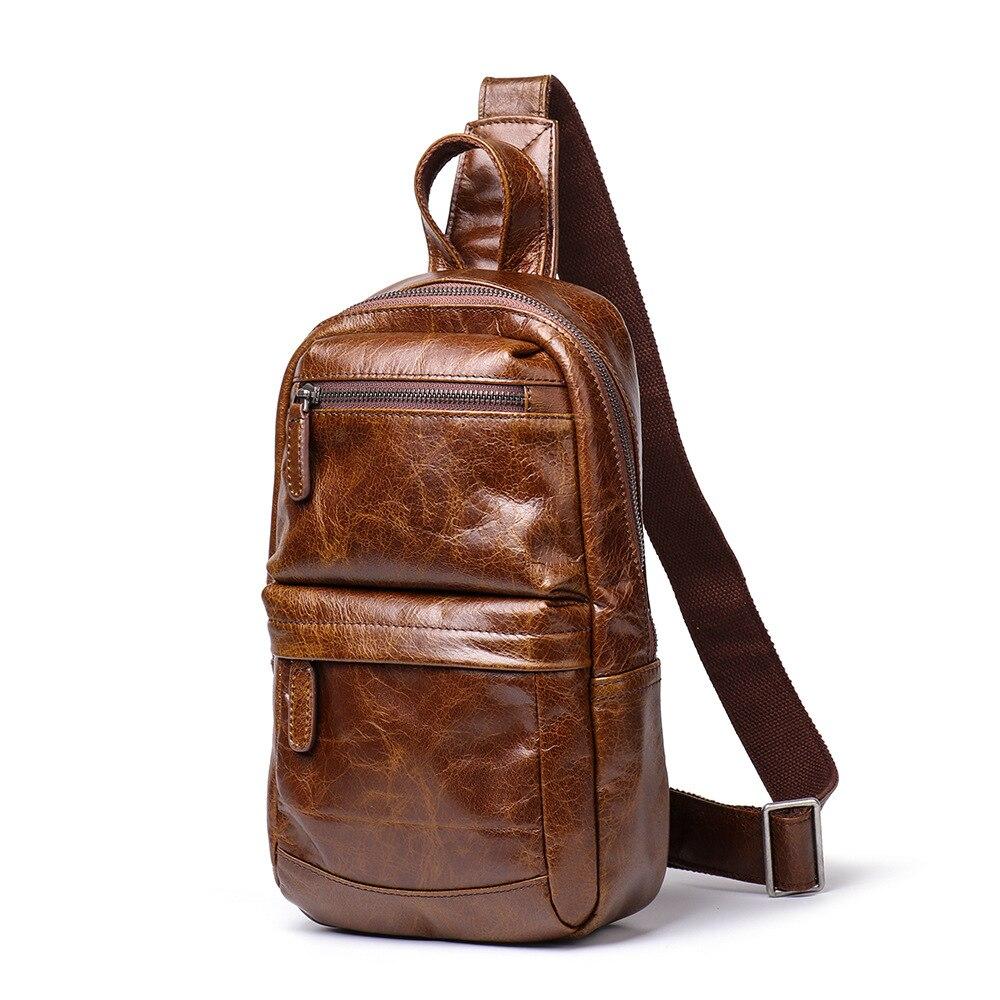 Vintage Genuine Leather Crazy Horse Leather Men Chest Pack Mini Cowhide Messenger Gags Fashion Sling Bag Single Shoulder Bag