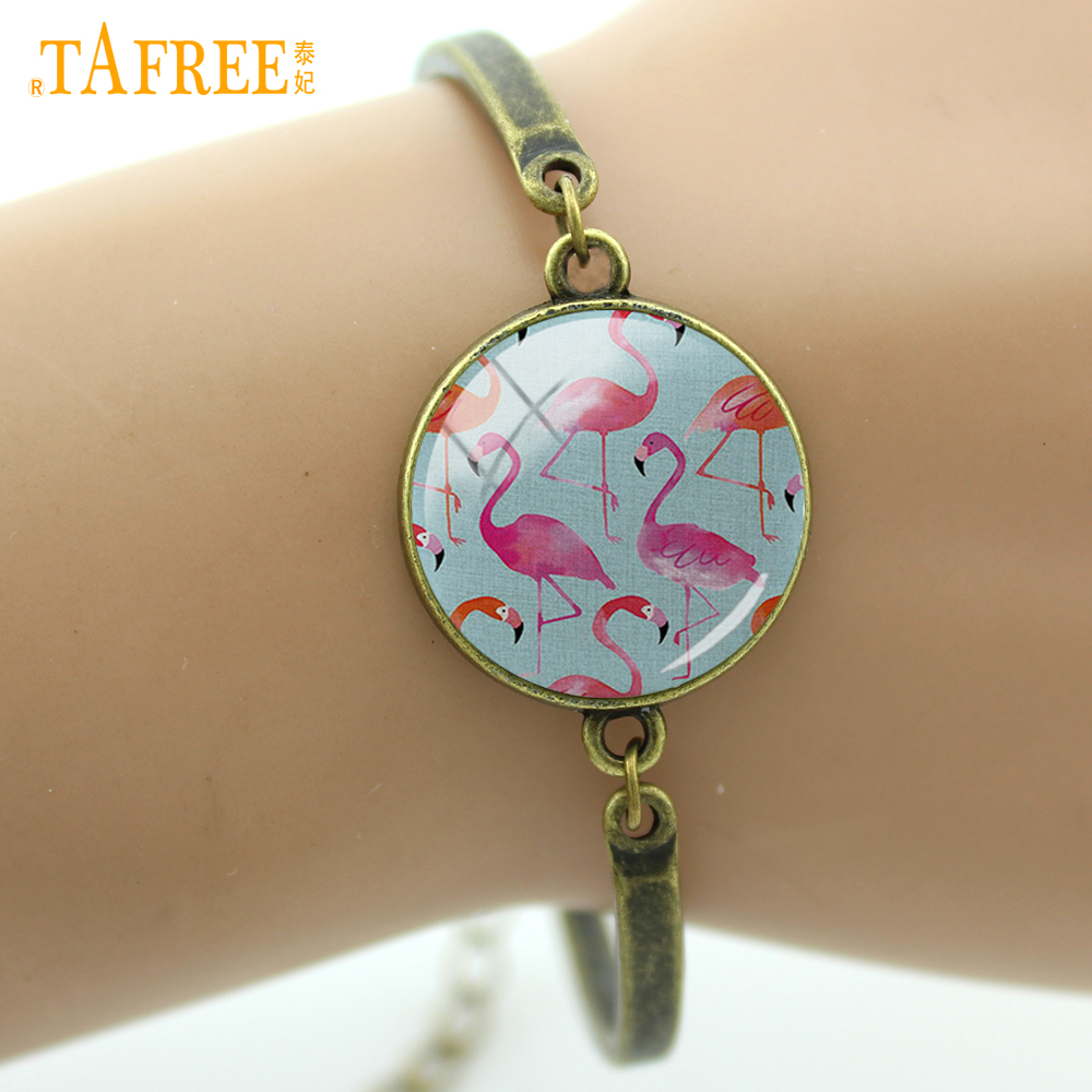 TAFREE Flamingo Bracelets fashion loving couple love bracelet two birds facing each other romantic high quality jewelry A571