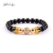 WML Luxury 8mm bead men bracelet CZ Crown & Ball Charm Braided Bracelets bangles for women jewelry party gift