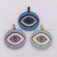 Lifelike Eyes Round Copper Pendant Micro Pave Cubic Zircon Mix Colors Eyes Charms Jewelry Pendant Fashion