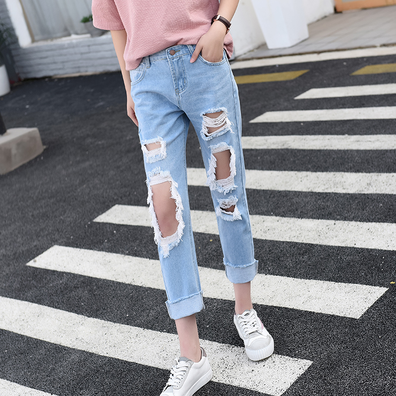 Autumn New Fashion Cotton Jeans Women Loose Mid Waist Washed Vintage Big Hole Ripped summer capris Denim Pencil Pants new summer vintage women ripped hole jeans high waist floral embroidery loose fashion ankle length women denim jeans harem pants