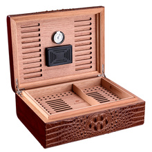 humidor crocodile skin embossed natural cedar wood high-capacity cigar moisturizing box CA-0307