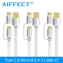 AIFFECT 3 Pack 2 in 1 USB Type C Cable Micro 1M For Phone Tablet Camera Fast Charge Support for QC3.0/2.0