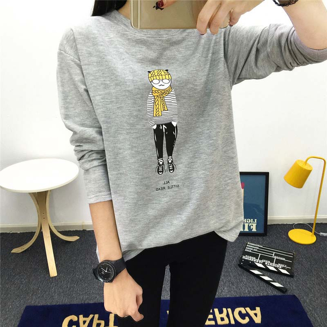 1f5127051b78 2017 Autumn Winter Fashion Full Sleeve Women T Shirt Cute Cat People  Cartoon Printed Tops Loose Big Size M-XXL Female T-shirts