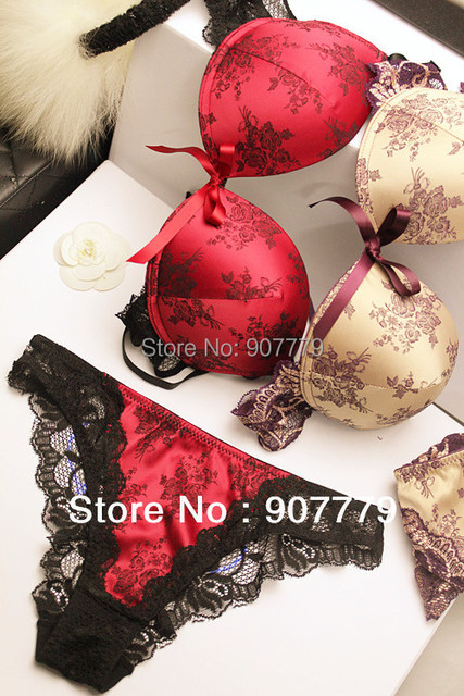 Womens Sexy Underwear Satin Print Lace Embroidery Bra Sets / Panties B C Cup
