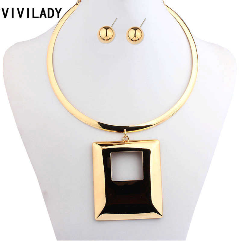 VIVILADY Fashion Statement Square Jewelry Sets Women Mother Gold Color Collar Chokers African Necklaces Earrings Birthday Gifts