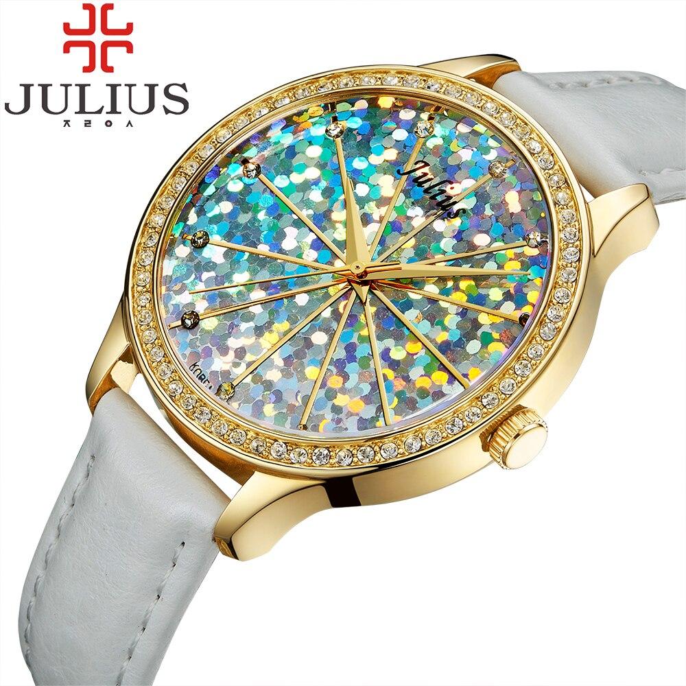 2017 Julius Brand Watches Women Luxury Crystal Rhinestone Quartz-watch Reloj Mujer Watch Lady Girl Wristwatches Gift