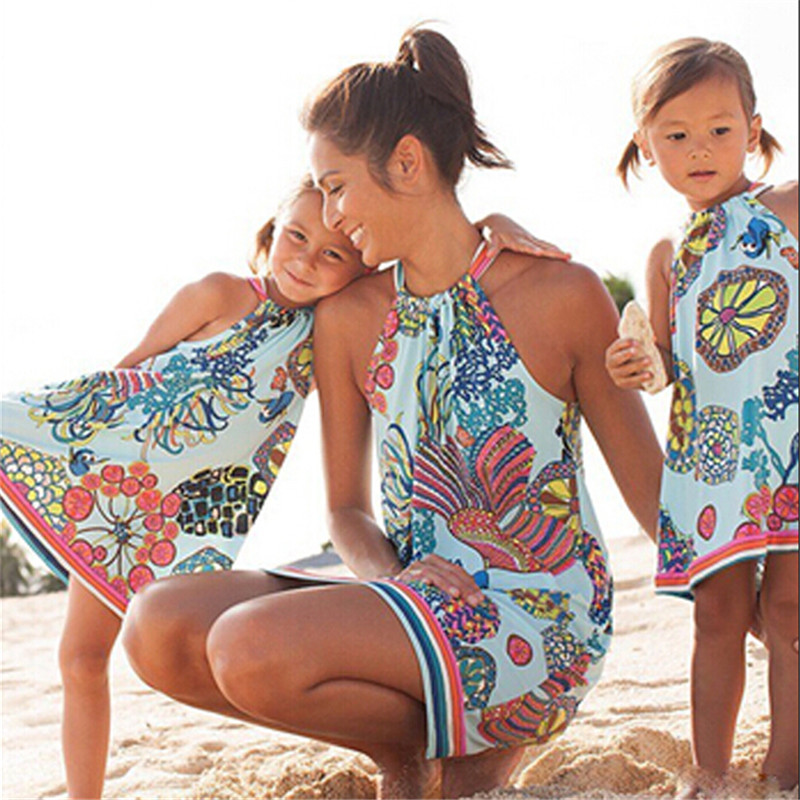 Mother And Daughter Family Matching Dress Printed Mom & Me Women Girls Dress Mum Big Little Sister Family Look Matching Clothes