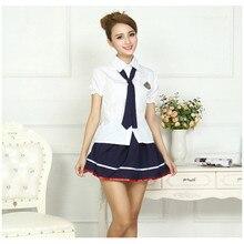 2d59a704254 Lencería Sexy para mujer, traje de marinero con botones sólidos, uniforme  de estudiante, vestido Sexy para discoteca, ropa inter.