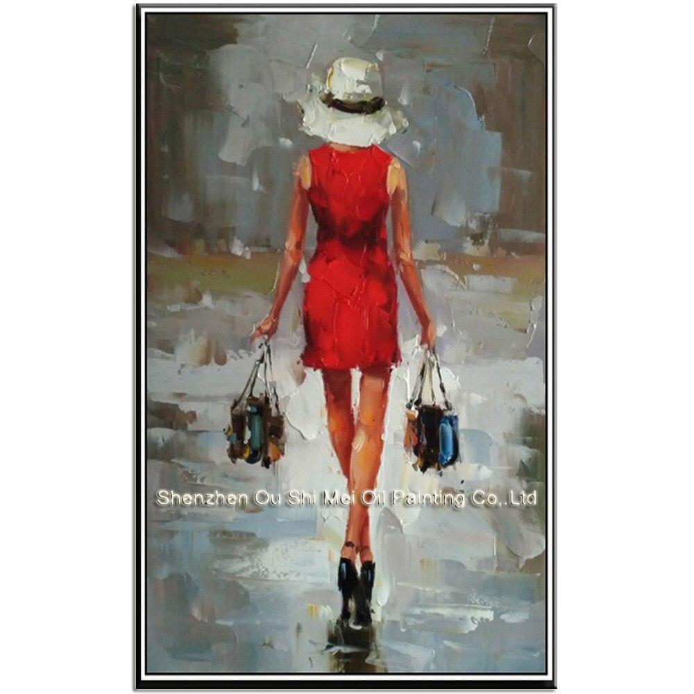 Peint  U00e0 La Main Rouge Robe De Femme Figure Shopping Peintures  U00c0 L U0026 39 Huile Impression Caract U00e8re