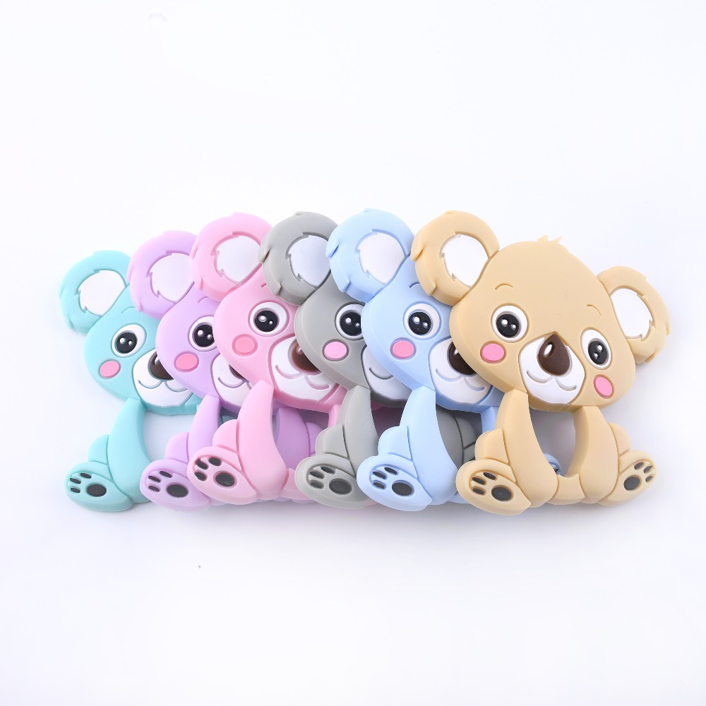 Let's Make Baby Silicone Koala 10pc Food Grade Silicone Teether Accessories Baby Crib Toy DIY Nursing Necklace Pendant