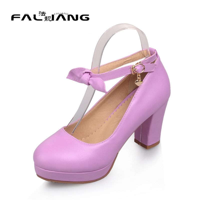 ФОТО Roman Style Women Pumps sweet Ankle Straps Thick High Heels Party Wedding Shoes Vintage Platform Pumps