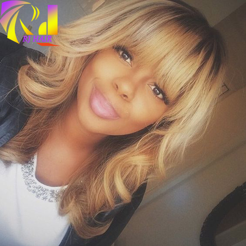 Honey Blonde Curly Human Hair Short Wig with Bangs, Ombre Color1b#/27# Brazilian Wavy Full Lace ...