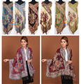 Free Shipping Double Faces Women's 55%Pashmina/45%Silk Peony Shawl/Scarf Peony