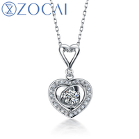 ZOCAI brand 0.25 CT CERTIFIED18K white gold heart shape DIAMOND Pendant + 925 STRLING SILVER CHAIN Necklace Fine Jewelry D02981