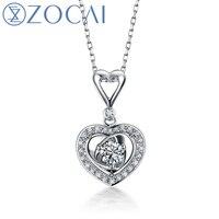 Zocai الماركة 0.25 ct CERTIFIED18K الأبيض الذهب شكل قلب الماس قلادة + 925 strling الفضة سلسلة قلادة غرامة مجوهرات D02981