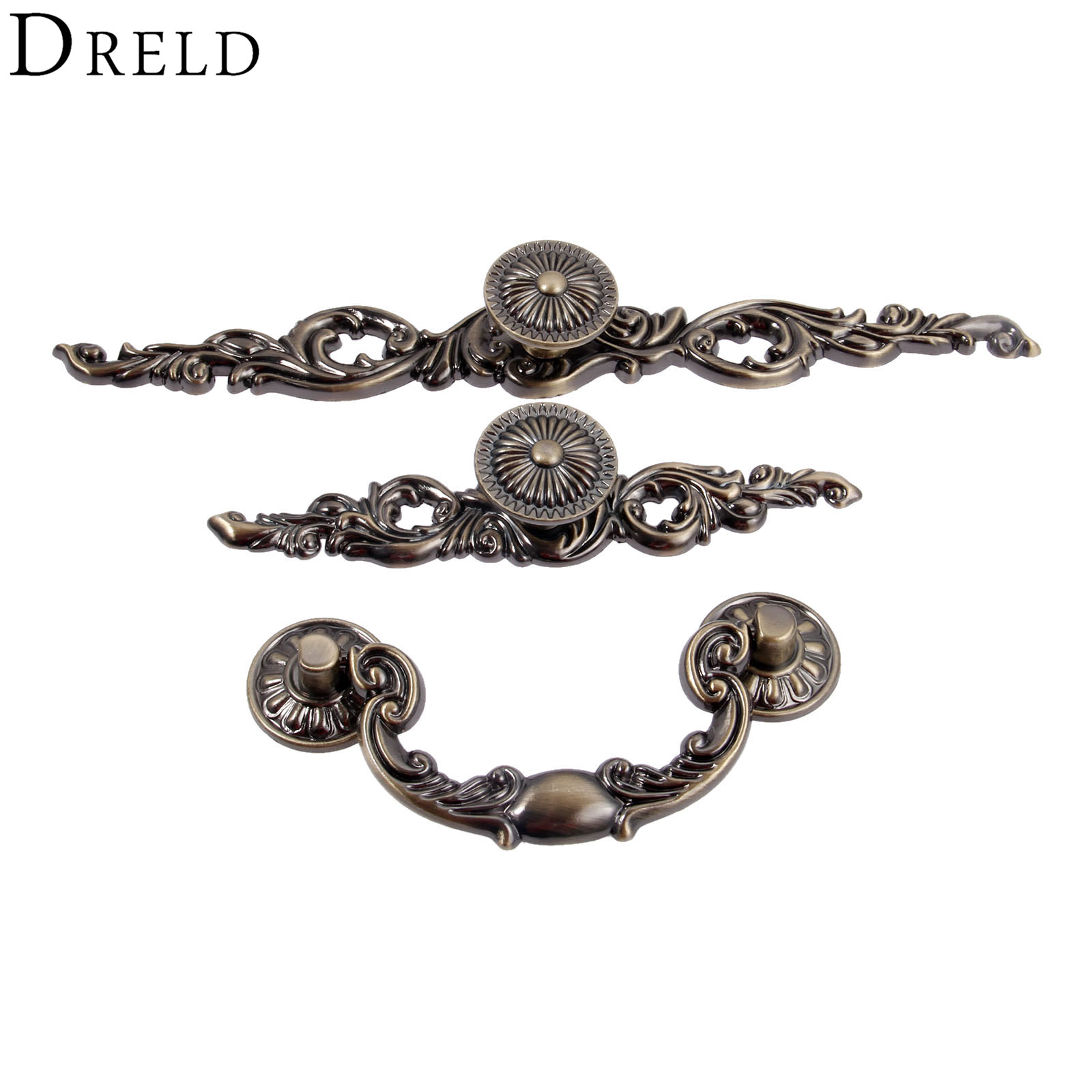 DRELD Vintage Dresser Drawer Cabinet Knobs and Handles Antique Bronze Kitchen Door Knob Cupboard Pull Handles Furniture Hardware