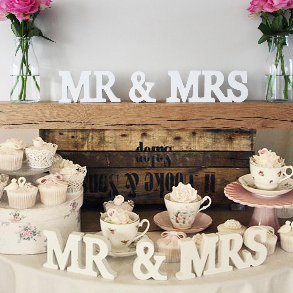 Mr & Mrs деревянные буквы мистер и миссис Свадебный знак для Свадебные украшения подарок столешницы украшения белый цвет