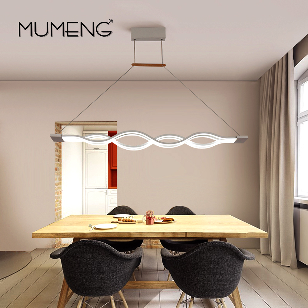 MUMENG LED Pendant Light Remote Control Modern Wave Dimmable kitchen ...