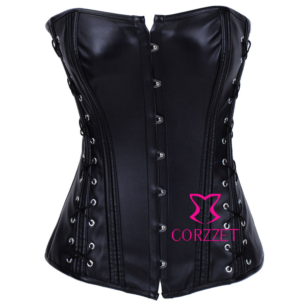 Body Building Steel Buckle Lace Up Black Faux Leather   Corset   Top Gothic Steampunk Overbust Strapless   Bustiers   &   Corsets   Women