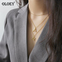 OLOEY 100% Sterling Silver 925 Necklaces Women Letter A M S Long Pendant Gold Plated Necklace for Women Fine Jewelry 2019 YMN133