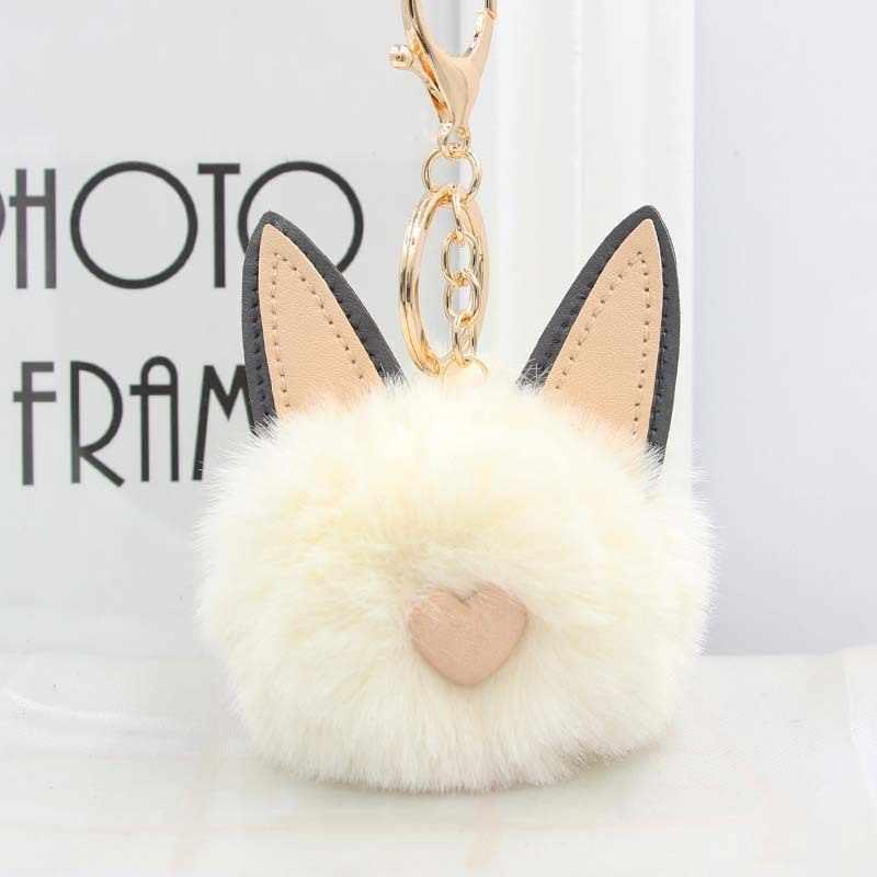 RE lindo gato corazón llavero pompón conejo piel bola llavero mullido pompón llavero mujeres llavero coche bolso encantos anillo de llave A0730
