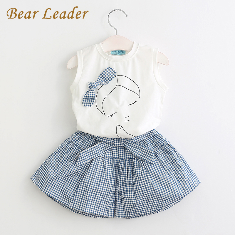 Bear Leader Girls Clothing Sets 2017 Brand Summer Style Kids Clothing Sets Sleeveless White T-shirt+Plaid Culottes 2Pc Girl Suit girls clothing sets 2017 new summer style children clothing baby girl s plaid clothes sets sleeveless plaid shirt shorts 4 9t
