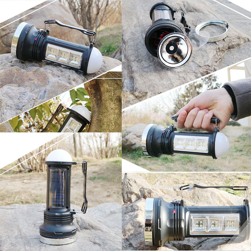 3 way led flashlight Solar power flash lamp light Rechargeable hand Torch work lights Searchlight searching for camping fishing