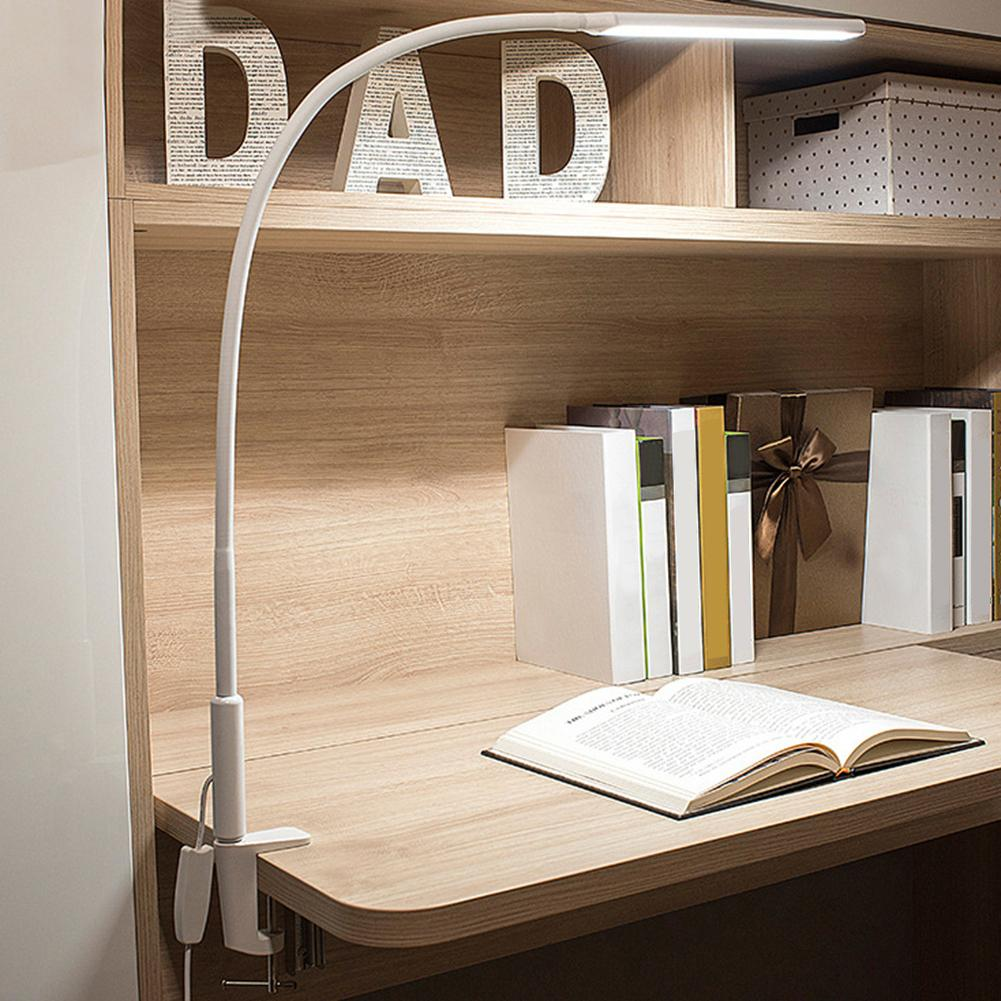 Table Clip Lamp Portable Long Arm Office USB Adjustable Eye Protection Desk Lamp Bedroom LED Light 5-Level Brightness And Color