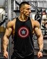 Marvel Capitão América Algodão Academias Regatas Muscular Dos Homens de Fitness Musculação Regatas Colete Singlets Longarina