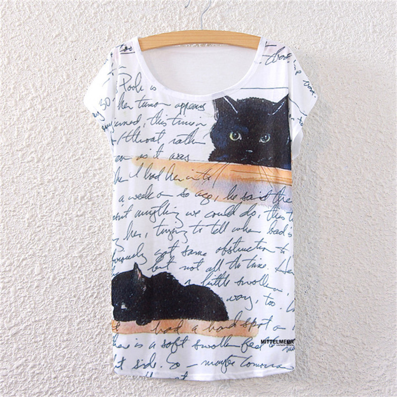 Harajuku T-shirt Women Tshirt Cotton Short Sleeve Tops Harajuku Summer Tumblr T shirt Wome Cat print 15 colors Summer Tee Shirt