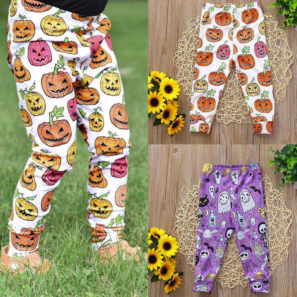Toddler Baby Pumpkin Girls Halloween Costume For Kids Fashion Pumpkin Bat Print Pants Leggings Outfits Skinny Pants Legging #30