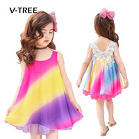 V TREE Summer Baby Girls Princess Dress Rainbow Style Lace Dress For Girl Kids Party Performance