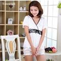 Новые Пижамы Для Женщин Кружева Белый Атласный Шелк Пижамы С Коротким Рукавом Шорты Симпатичные Пижамы Наборы