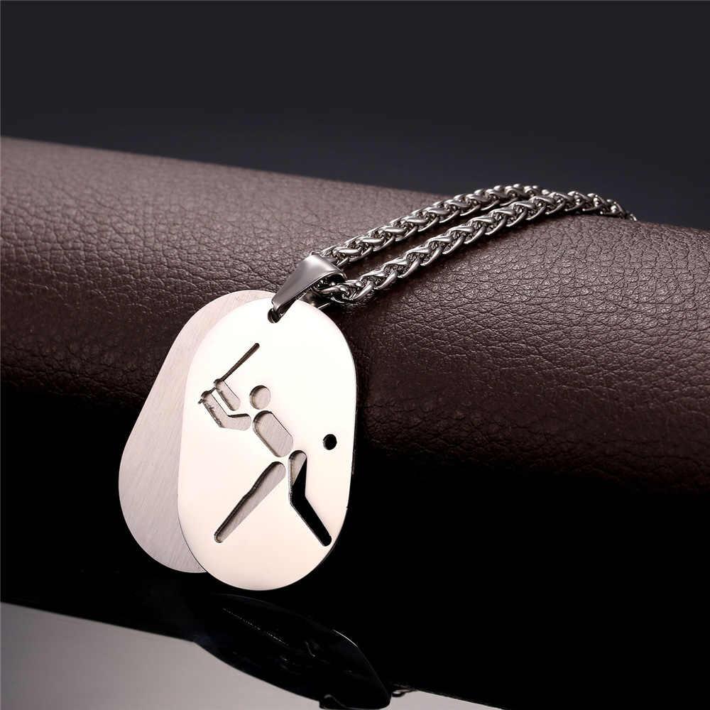 U7 Baru Stainless Steel Charm Pendant Pertandingan Bisbol Sporty Perhiasan Emas Warna Anjing Tag Kalung Untuk Pria P838