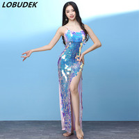 Women Belly Dance Costume Pink Blue Sequins Strap Long Dress Slit Thigh Dress Nightclub Bar Stage Wear One Piece Dance Outfits