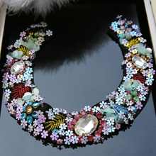 Big Rhinestone beaded patches for clothing sew on sequin applique for dress Handmade Flower parches for bags