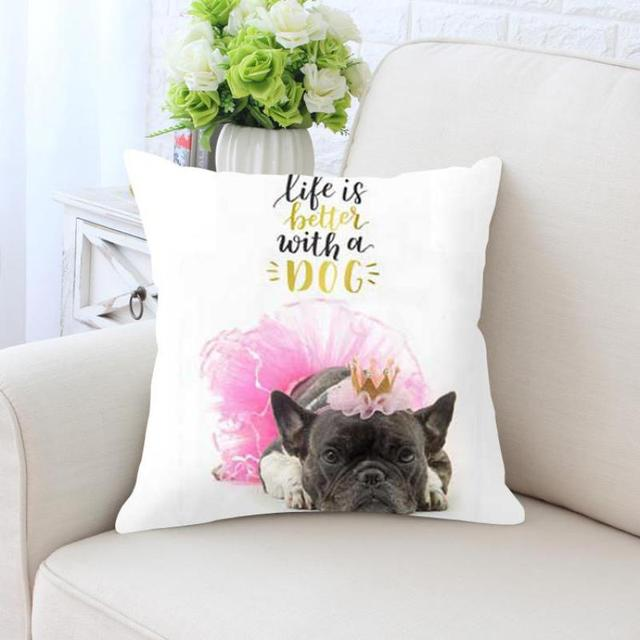 French Bulldog Dog Cushion Cover Housse De Coussin Chien Pink