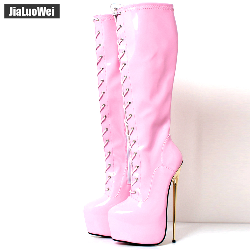 Women Sexy Knee-high boots Lace up Round toe Zipper Thin Metal Heels Ladies Party Nighclub ShoesWomen Sexy Knee-high boots Lace up Round toe Zipper Thin Metal Heels Ladies Party Nighclub Shoes