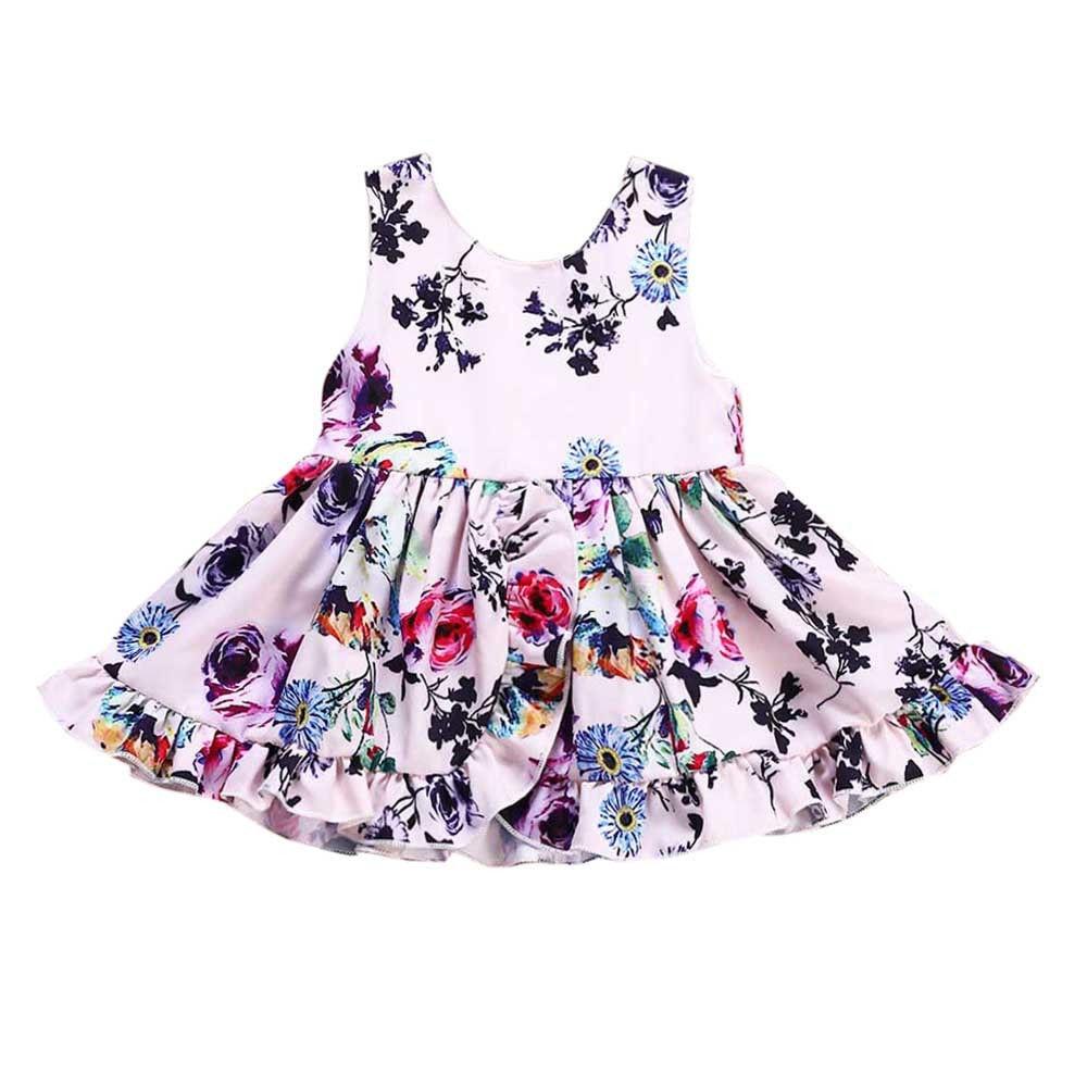 290f650a2595 Toddler Sleeveless Princess Dress Kid Baby Girls Floral Printing ...