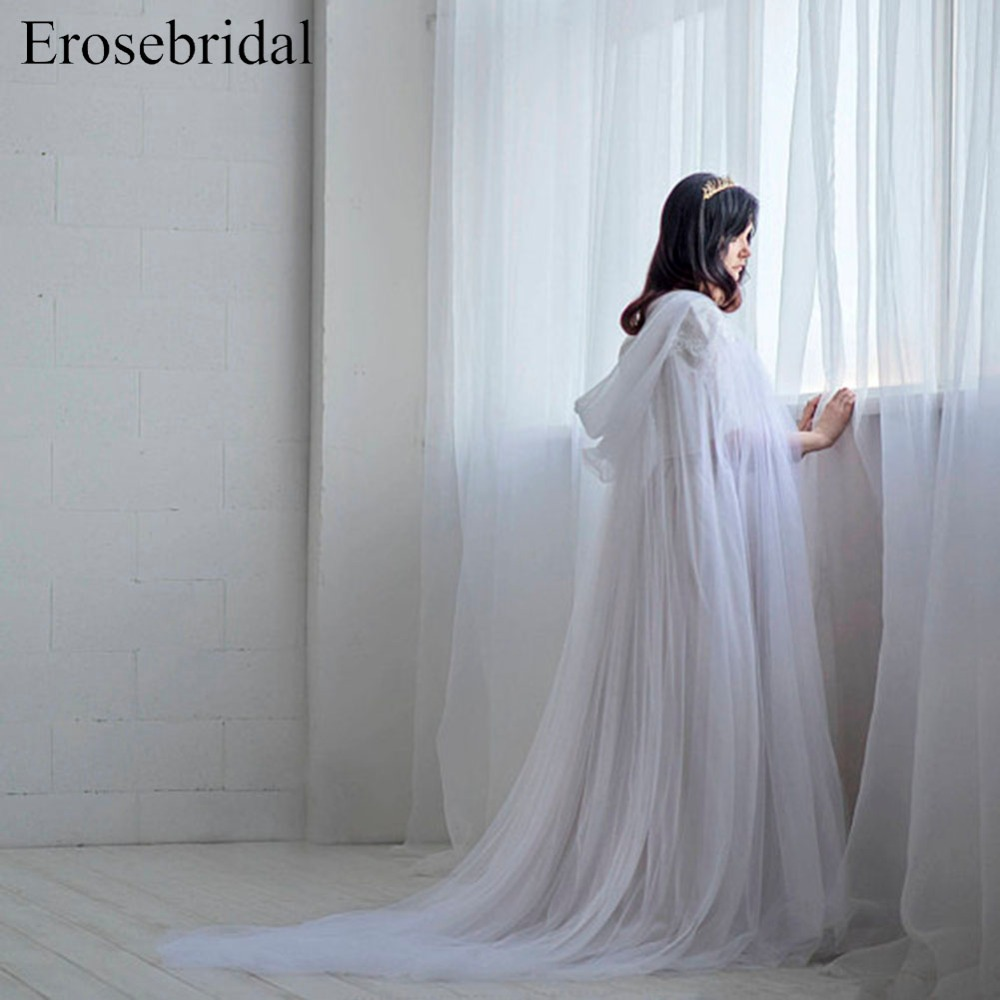 Long White Ethereal - Bridal Cloak Tulle Wedding Cape Bridal Cape Unique Bridal Cover Up Wedding Wrap with Hat ES900