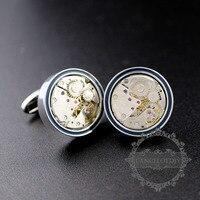 22mm Silver Color Brass Steam Punk Round Watch Movement Novelty Cufflinks Fashion Men S Shirt Button