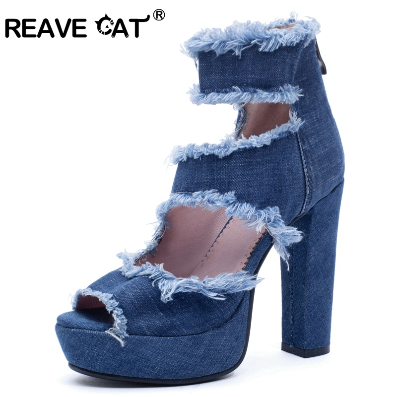 REAVE CAT 2019 New arrival Spring summer Shoes woman High square heel Zipper Denim Platform Hairy