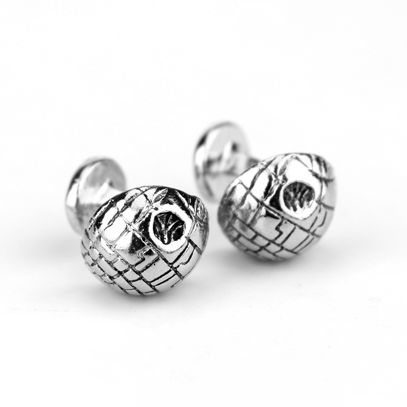 Hot Game Star Wars Earth Ball Cufflinks Shirt Brand Cuff Buttons Gun-Black Plated Round Cuff Links Jewelry for Man Gift Jewelry