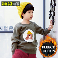 Pioneer Camp Thicken Fleece Boys Sweatshirt Kids Clothing Warm Thick T Shirt Casual Fashion Hoodies For