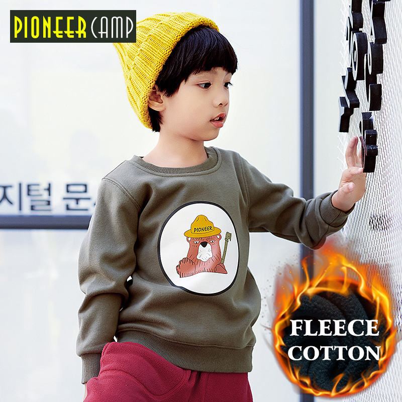 Pioneer camp thicken fleece boys sweatshirt kids clothing warm thick t-shirt casual fashion hoodies for 4-14Y boys BWY709335