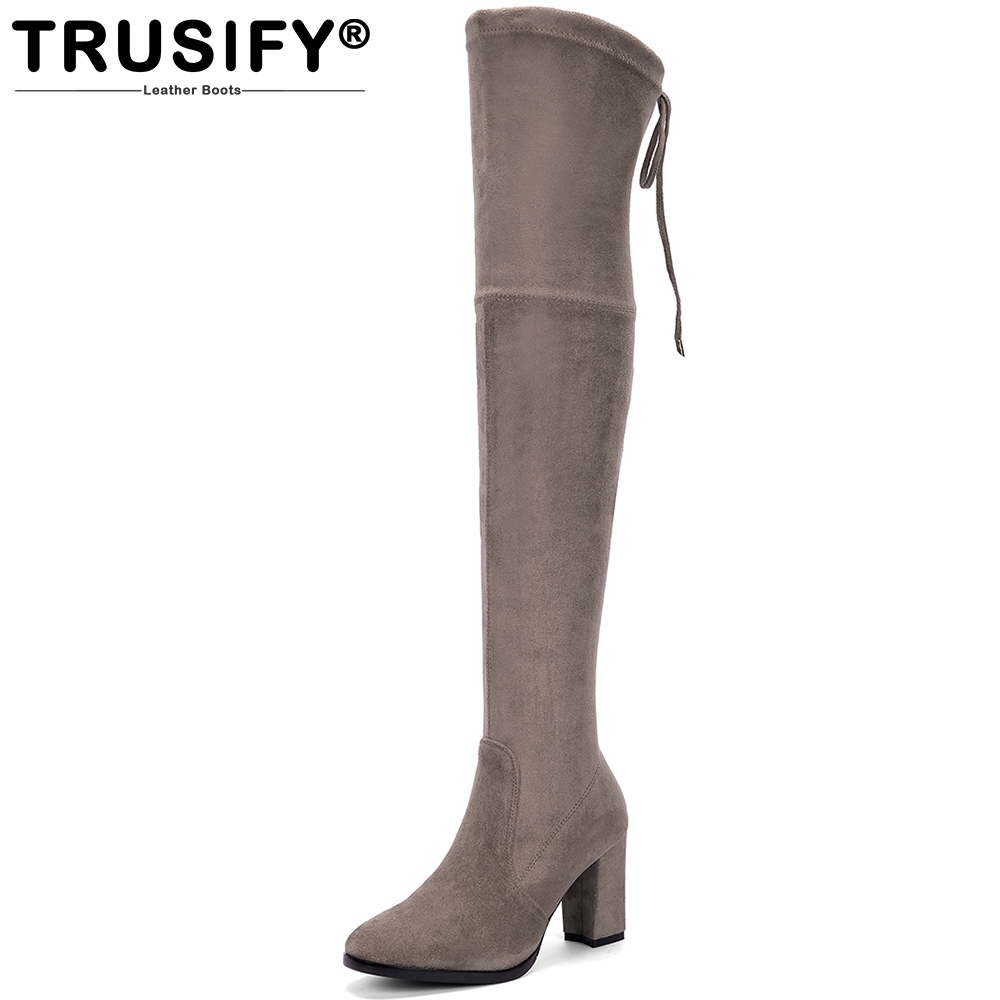 TRUSIFY 2018 Ohcap Suede Over the Knee Zipper Elastic force Knight boots Round Toe High Square heel Thigh High Boots For Women