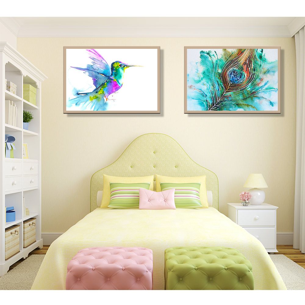 pop art cuadros decoracion canvas mordern watercolor bird feather animal poster and print oil. Black Bedroom Furniture Sets. Home Design Ideas