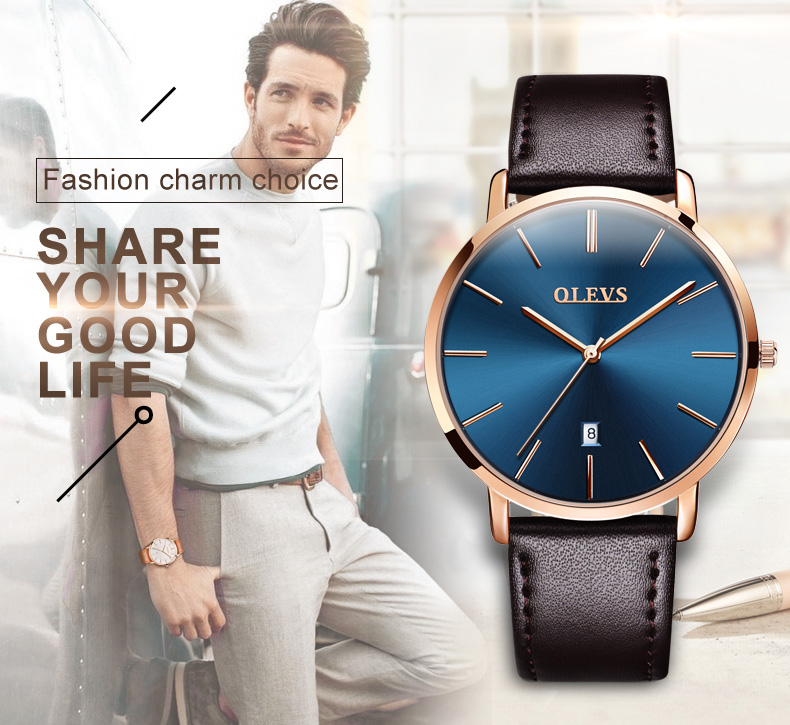 Men luxury brand quartz watches leather strap minimalist ultra-thin waterproof watch fashion wrist watch with high quality 3