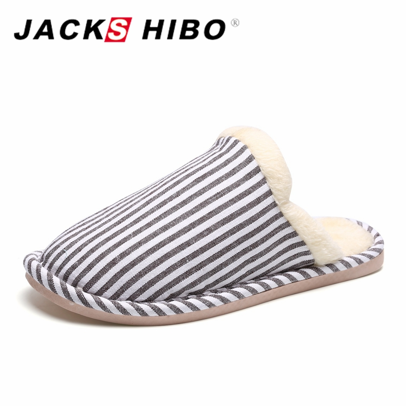 JACKSHIBO Home Warm Slippers Short Plush Lining Striped Design Men Slippers Male Sandals Slip On Slides Home Shoes Size 42-45 men winter soft slippers plush male home shoes indoor man warm slippers shoes